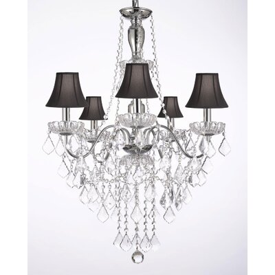 Holton 5-Light Candle-Style Chandelier Shade Color: Black