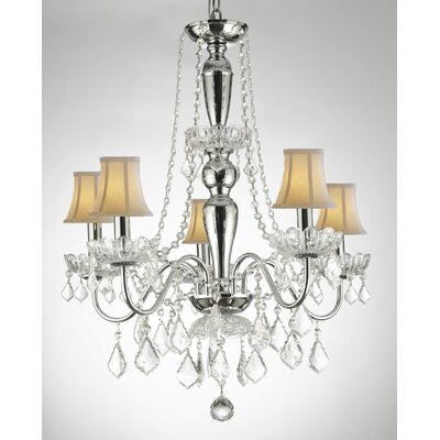 Croxton Crystal Trimmed 5-Light Candle-Style Chandelier Shade Color: White