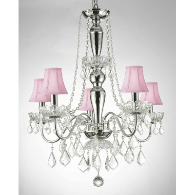 Holton 5-Light Candle-Style Chandelier Shade Color: Pink