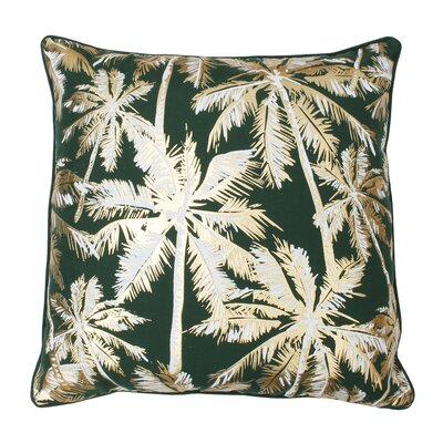 Sanborn Foil Printed Palm Tree Throw Pillow Color: Eden/Gold
