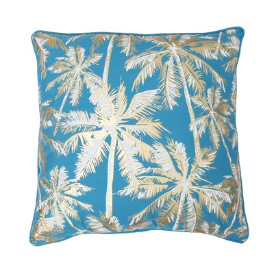 Sanborn Foil Printed Palm Tree Throw Pillow Color: Capri Breeze/Gold