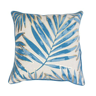 Ginsberg Foil Printed Leaf Throw Pillow Color: Blue