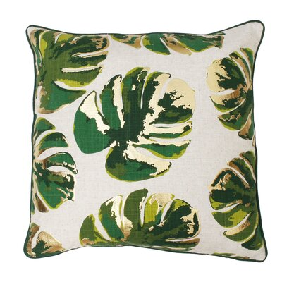 Piedmont Foil Printed Leaf Throw Pillow Color: Green