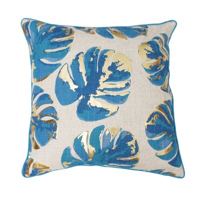 Piedmont Foil Printed Leaf Throw Pillow Color: Blue