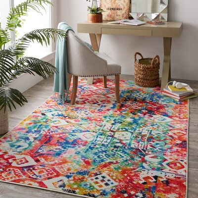 Patchwork Red/Blue Area Rug
