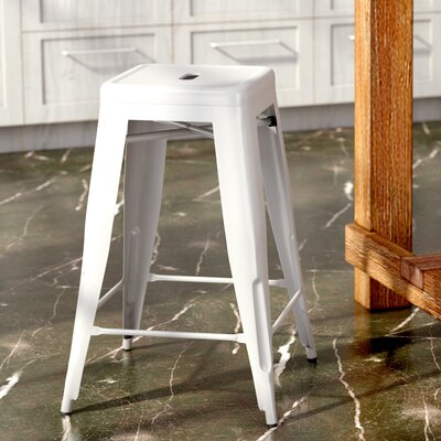 Lompoc 24 Bar Stool Finish: Glossy White
