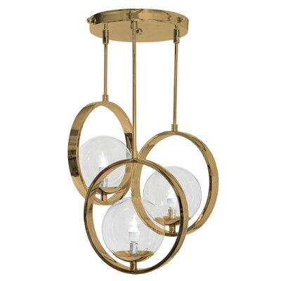 Bergues 3-Light Cluster Pendant Finish: Pacific Sunset Gold