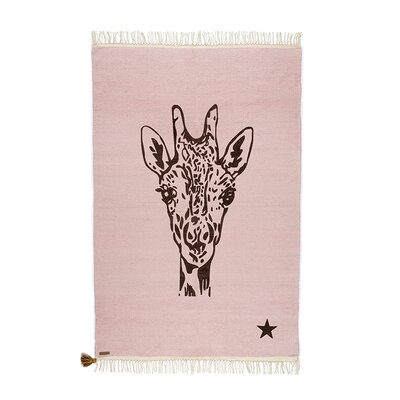 One-of-a-Kind Deerfin Giraffe Hand-Woven Cotton Pink Area Rug