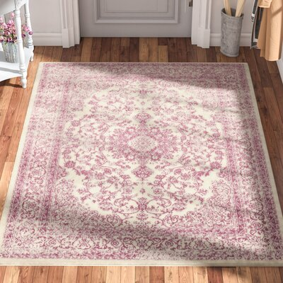 Zander Medallion Ivory/Purple Indoor Area Rug Rug Size: 710 x 910