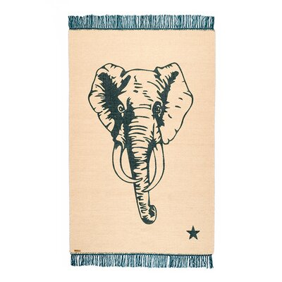 One-of-a-Kind Coggrey Elephant Hand-Woven Cotton Green/Beige Area Rug