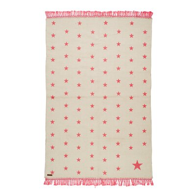 One-of-a-Kind Coggrey Stars Hand-Woven Cotton Beige/Pink Area Rug