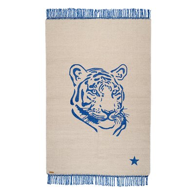 One-of-a-Kind Coggrey Tiger Hand-Woven Cotton Beige Area Rug