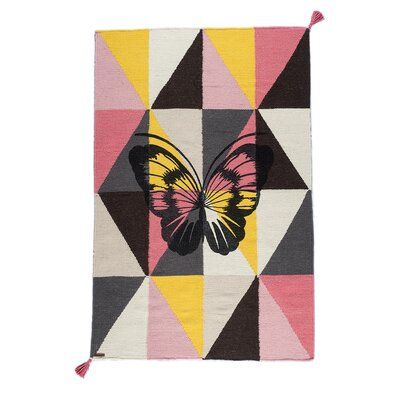One-of-a-Kind Dromore Butterfly Hand-Woven Wool Pink/Gray Area Rug