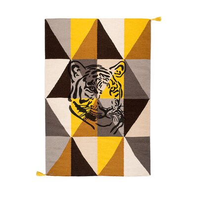 One-of-a-Kind Dromore Tiger Hand-Woven Wool Yellow/Brown Area Rug