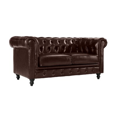 Wesleyville Leather Chesterfield Loveseat Upholstery: Dark Brown