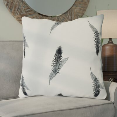 Arlo Feather Floral Throw Pillow Size: 26 H x 26 W, Color: Black