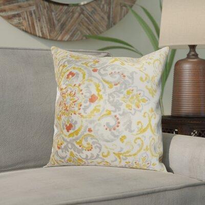 Calandre Floral Throw Pillow Color: Platinum, Size: 18 x 18