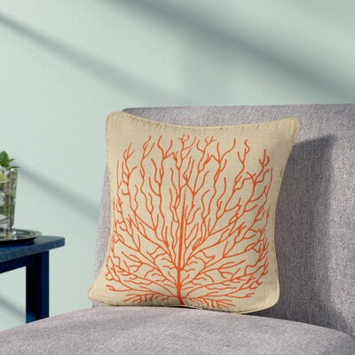 Isla Fire Coral Throw Pillow Color: Orange
