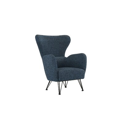 Mcintyre Mid Century Shelter Wingback Chair Upholstery: Dark Blue