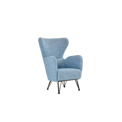 Mcintyre Mid Century Shelter Wingback Chair Upholstery: Sky Blue