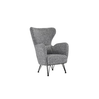 Mcintyre Mid Century Shelter Wingback Chair Upholstery: Light Grey