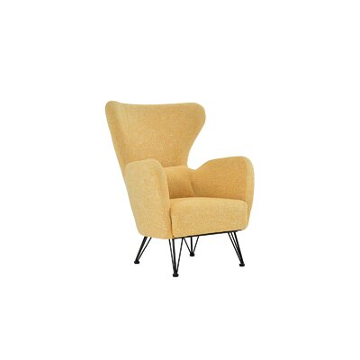 Mcintyre Mid Century Shelter Wingback Chair Upholstery: Yellow