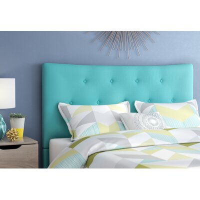 Dedrick Full Upholstered Panel Headboard Upholstery: Cyan, Size: Queen