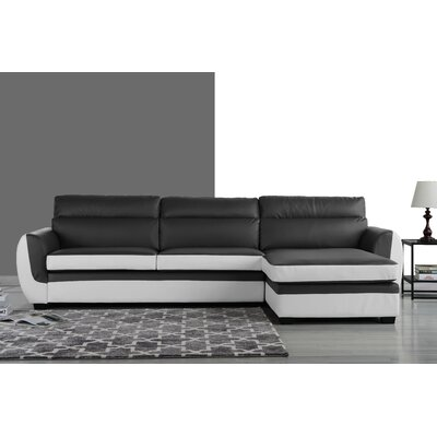 Ingham Modern Sectional Upholstery: Dark Gray/White