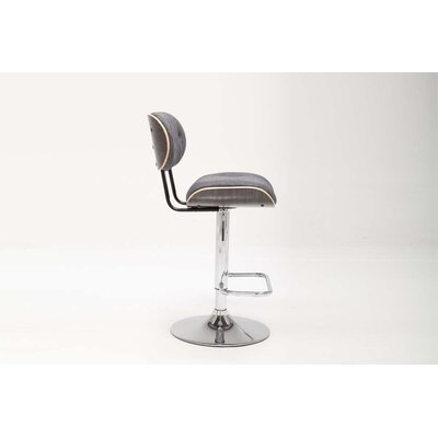 Smuk Adjustable Height Swivel Bar Stool Color: Silver, Upholstery: Gray
