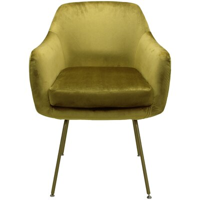 Arredondo Upholstered Dining Chair Upholstery Color: Gold, Leg Color: Gold