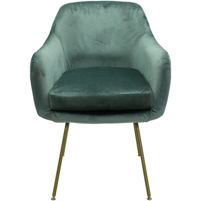 Arredondo Upholstered Dining Chair Upholstery Color: Seafoam, Leg Color: Gold