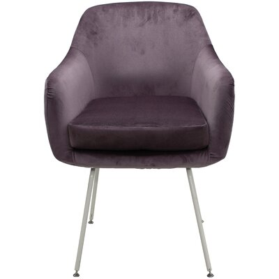 Arredondo Upholstered Dining Chair Upholstery Color: Purple, Leg Color: White