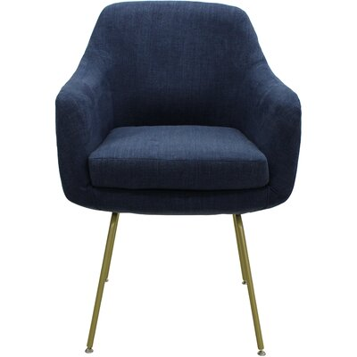 Arredondo Upholstered Dining Chair Upholstery Color: Dark Blue, Leg Color: Gold