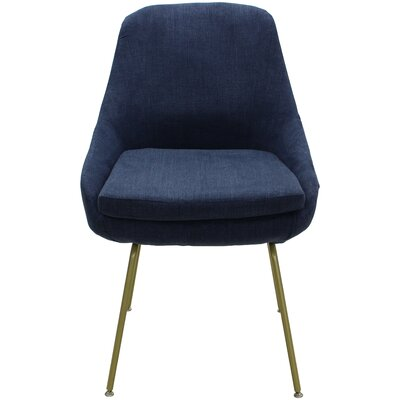 Arreguin Upholstered Dining Chair Upholstery Color: Dark Blue, Leg Color: Gold