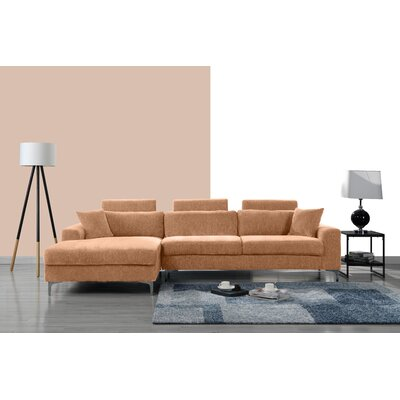 Mckain L Shape Sectional Upholstery: Light Brown