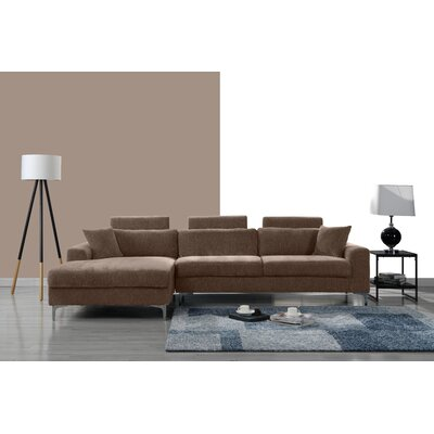 Mckain L Shape Sectional Upholstery: Brown