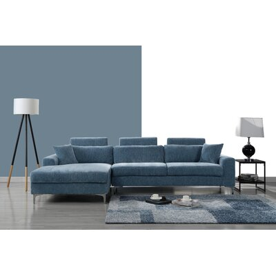 Mckain L Shape Sectional Upholstery: Blue
