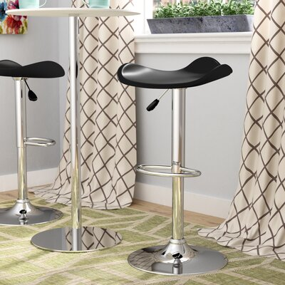 Andrew Adjustable Height Swivel Bar Stool Upholstery: Black
