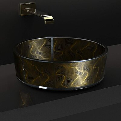 Atelier Modern Glass Circular Vessel Bathroom Sink Sink Finish: Black Gold