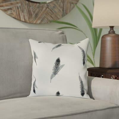 Arlo Feather Floral Outdoor Throw Pillow Size: 16 H x 16 W, Color: Black