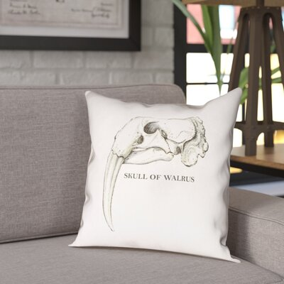 France Walrus Skull Indoor/Outdoor Throw Pillow Size: 18 x 18