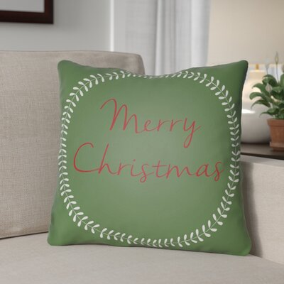 Merry Christmas Outdoor Throw Pillow Size: 18 H x 18 W x 4 D, Color: Green / Red