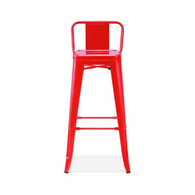 Briele Steel Low Back 30 Bar Stool Color: Red