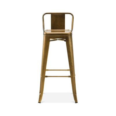 Briele Steel Low Back 30 Bar Stool Color: Brass