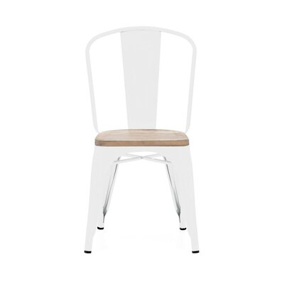 Despres Glossy Elm Wood Stackable Dining Chair Color: Light White