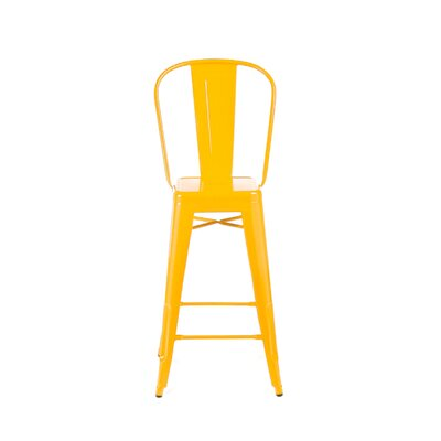 Despres High Back Steel Counter 26 Bar Stool Color: Yellow