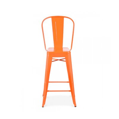 Despres High Back Steel Counter 26 Bar Stool Color: Orange