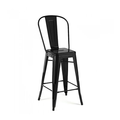 Despres High Back Steel Counter 26 Bar Stool Color: Matte Black
