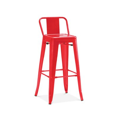 Despres Low Back Steel Counter 26 Bar Stool Color: Red