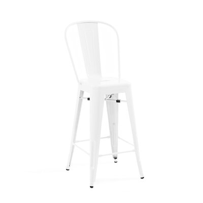 Despres High Back Steel Counter 26 Bar Stool Color: White